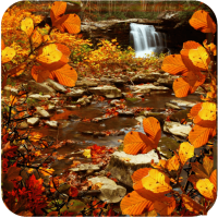 Autumn Waterfall Leaves Live wallpaper